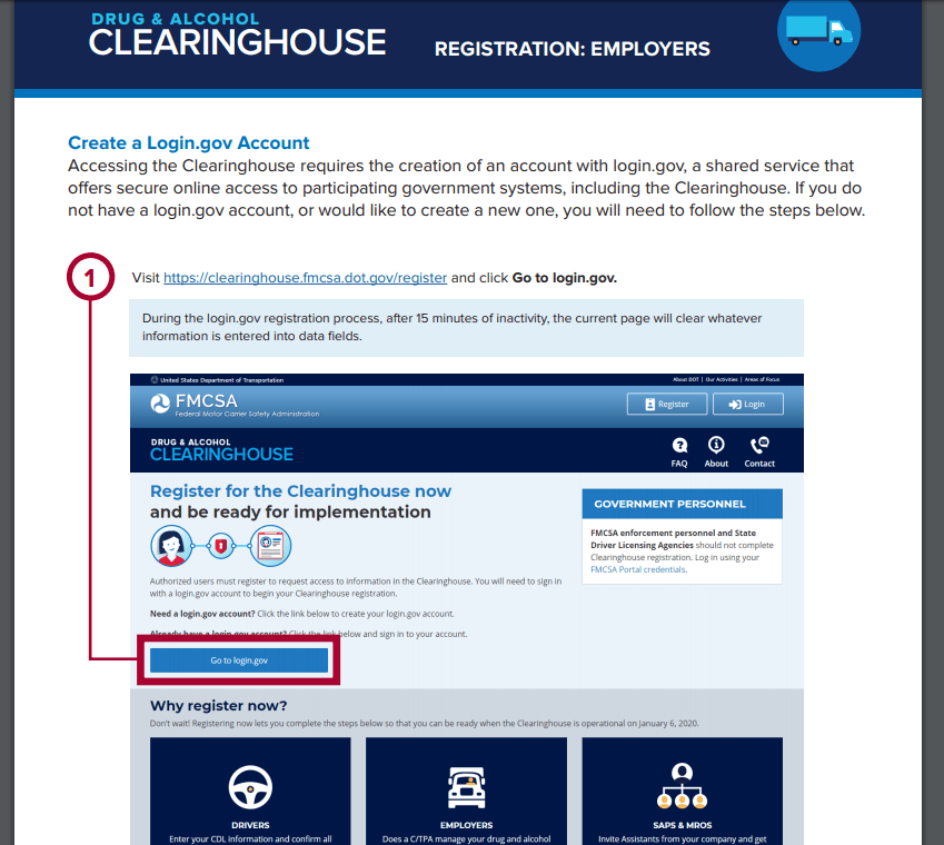 fmcsa drug testing clearinghouse guide to register